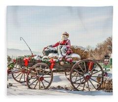 Cowboy Santa Taking A Quick Break Fleece Blanket