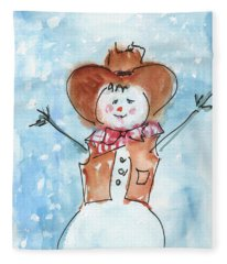 Cowboy Snowman Watercolor Painting By Kmcelwaine Fleece Blanket