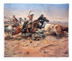 Cowboys Roping A Steer Fleece Blanket