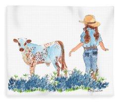 Cowgirl Calf In The Bluebonnets Pe005 Fleece Blanket
