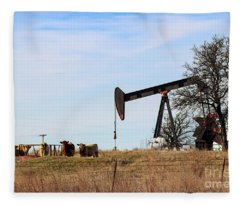 Cows And Oil Well Fleece Blanket