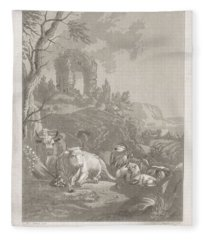 Cows, Goats And Sheep In A Mountainous Landscape With Ruin, Diederik Jan Singendonck, After Christia Fleece Blanket