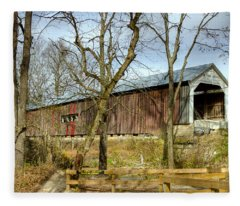 Cox Ford Covered Bridge Fleece Blanket