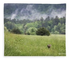 Coyote In The Smokies Fleece Blanket