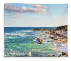 Cozumel Mexico Carribean Sea Shoreline Fleece Blanket