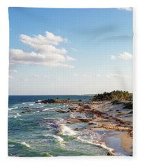 Cozumel Mexico Sea Shoreline Vertical Fleece Blanket