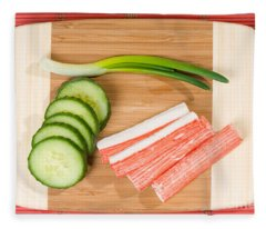 Crab Sticks Of Surimi And Cucumber With Chives  Fleece Blanket
