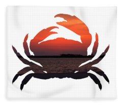 Crab Sunset Fleece Blanket