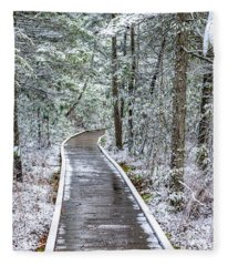 Cranberry Glades Boardwalk With Snow Fleece Blanket