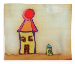 Cranky Clown Cabana And Fire Hydrant Fleece Blanket