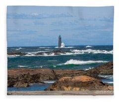 Crashing Waves On Minot Lighthouse  Fleece Blanket