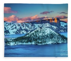 Crater Lake Dusk Fleece Blanket