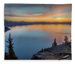 Crater Lake Morning No. 1 Fleece Blanket