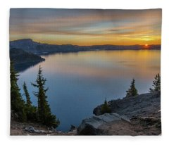 Crater Lake Morning No. 2 Fleece Blanket