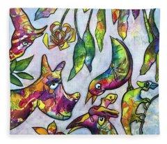 Crazy Critters Fantasy Animal Painting Fleece Blanket