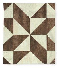 Cream And Brown Quilt Fleece Blanket