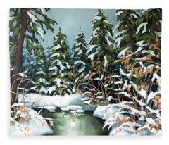 Creek, Winter, Snow Fleece Blanket