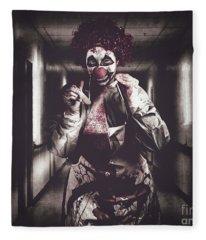 Creepy Medical Clown In Grunge Hospital Hallway Fleece Blanket
