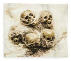 Creepy Skulls Covered In Spiderwebs Fleece Blanket