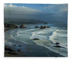 Crescent Beach And Surf Fleece Blanket
