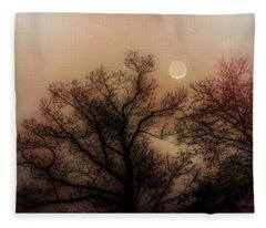 Crescent Between The Trees Fleece Blanket
