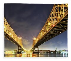 Crescent City Bridge In New Orleans Fleece Blanket