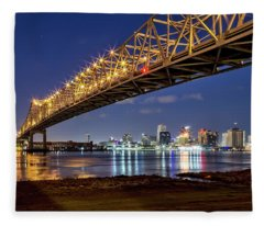 Crescent City Bridge, New Orleans Fleece Blanket