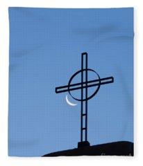 Crescent Moon And Cross Fleece Blanket