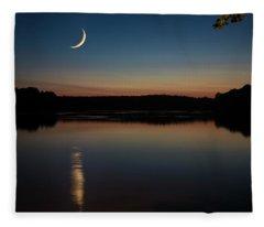 Crescent Moon Set At Lake Chesdin Fleece Blanket