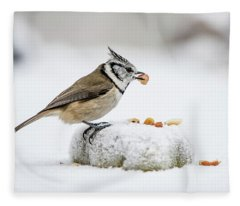 Crested Tit's Catch A Peanut Fleece Blanket