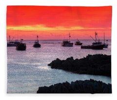 Crimson Fleet Fleece Blanket