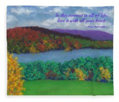 Crisp Kripalu Morning - With Quote Fleece Blanket