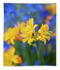 Crocosmia Pauls Best Yellow Flower Fleece Blanket