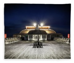 Cromer Pier Pavilion At Night  Fleece Blanket