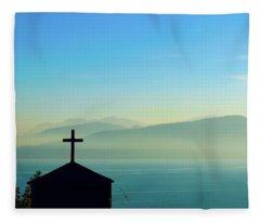 Cross And Foggy Moutains In Greece Fleece Blanket