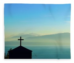 Cross And Foggy Moutains In Greece Fleece Blanket