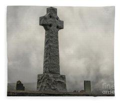 Cross At Grave Flora Macdonald Fleece Blanket