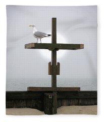 Cross At West Dennis Beach Fleece Blanket