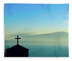 Cross In Front Of Misty Mountains Of Greece Fleece Blanket