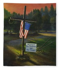 Cross Of Remembrance Fleece Blanket
