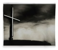 Cross On A Hill Fleece Blanket