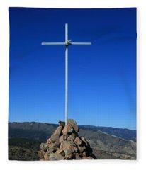 Cross On Fremont Peak Fleece Blanket