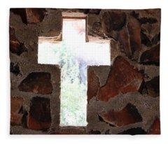 Cross Shaped Window In Chapel  Fleece Blanket