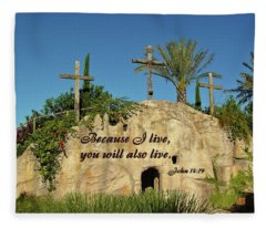 Crosses And Resurrection Fleece Blanket