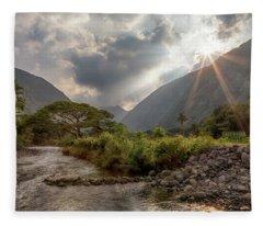 Crossing Hiilawe Stream Fleece Blanket