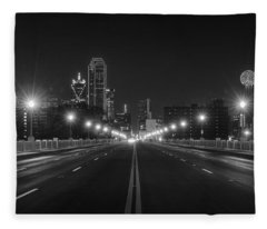 Fleece Blanket featuring the photograph Crossing The Bridge To Downtown Dallas At Night In Black And White by Todd Aaron