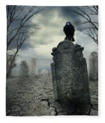 Crow On The Tombstone Fleece Blanket