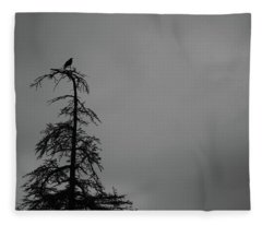 Crow Perched On Tree Top - Black And White Fleece Blanket