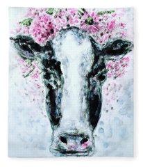 Crown Of Flowers Cow Fleece Blanket