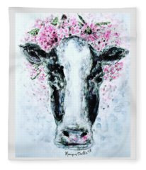 Crown Of Flowers Cow Fleece Blanket